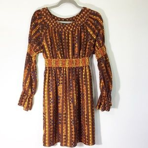 Anna Sui Womens Long Sleeve Peasant Dress Size XS